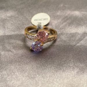 Pink and Purple Heart Cubix Zirconia Gold Ring